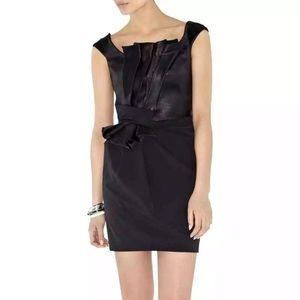 Karen Millen Black Pleated Contrast Cocktail Dress